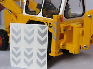 Details about LEG CHEVRONS X 3 SILVER to fIt BRITAINS JCB 3C ,3CX MARK III  DECALS CONVERSION