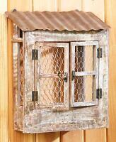 Rustic Wall Planter Chicken Wire Wood Metal Primitive Organizer Holder Farmhouse