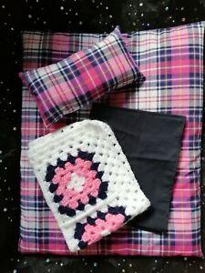 Dolls-Pram-Blanket-and-Pillow-4-piece-bedding-set-Quilt-Duvet-Pink-Navy