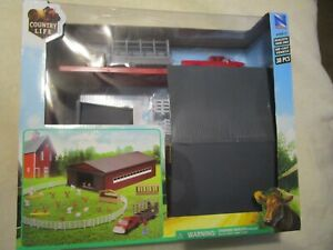 NIB-New-Ray-COUNTRY-LIFE-38pc-Playset-Pickup-Trailer-Barn-Chickens-amp-Fences