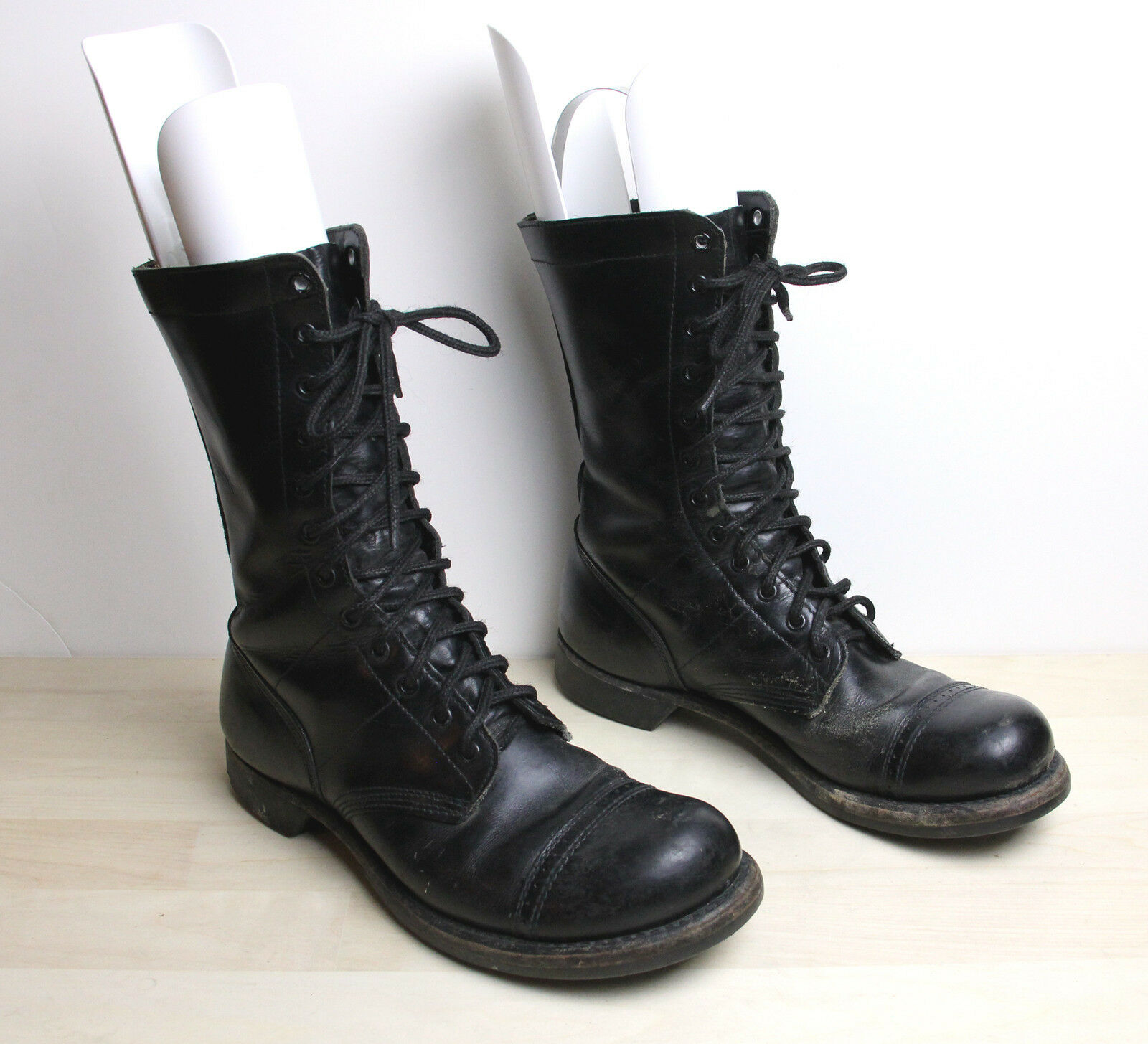 Vintage CORCORAN Military Jump Boots Mens Size 9 D Cap Toe Black Leather USA