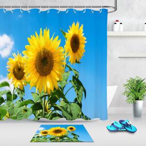 The Sunflower Theme Waterproof Fabric Home Decor Shower Curtain Bathroom Mat