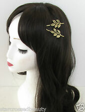 2 x Bronze Olive Leaf Hair Clips Slides Grecian Roman Vintage Gold Woodland M59