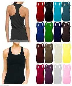 Ladies Women/'s Long Racer Back Bodycon Muscle Vest Top Gym Top All Plus Sizes