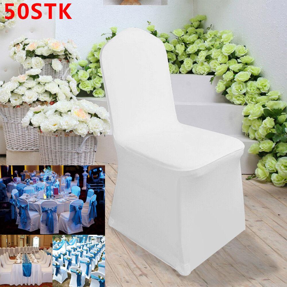 50x Stuhlhussen Stretch Stuhlüberzug Stuhlbezug Hussen Hochzeit Elastisch