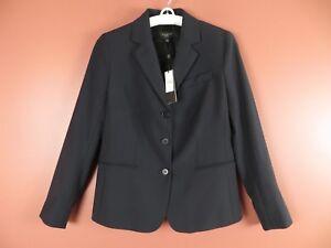 CJ0545- NWT TALBOTS Woman 87% Wool Blazer Jacket Pockets Navy Blue Sz 8P $199