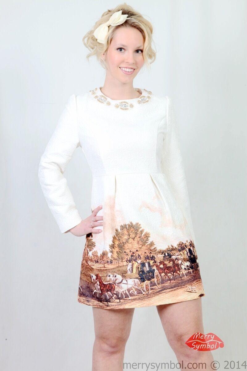Classic White long sleeves pretty women's dress