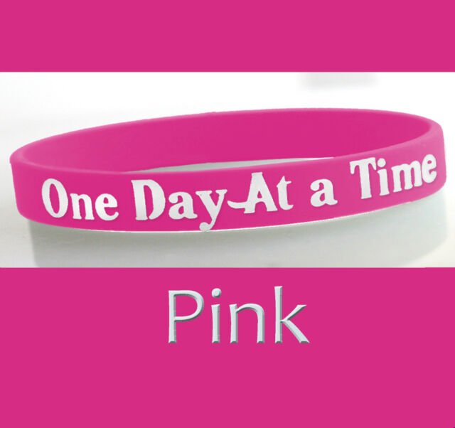 """/""""Easy Does It/"""" 12 Step Recovery Program Silicone Wristband//Pink"""