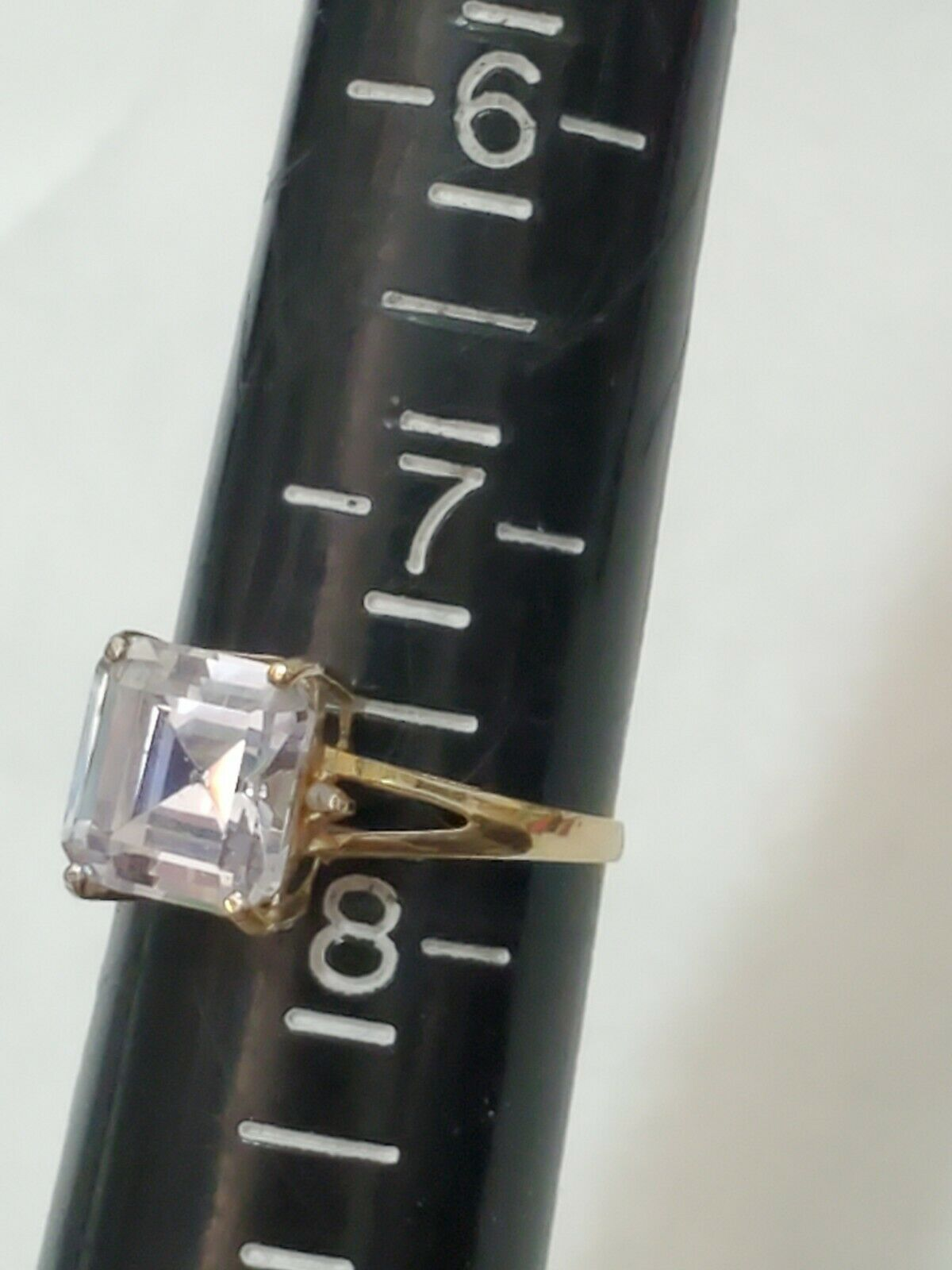 Solid 10k Gold Ring Solitaire Princess Cut  - image 5