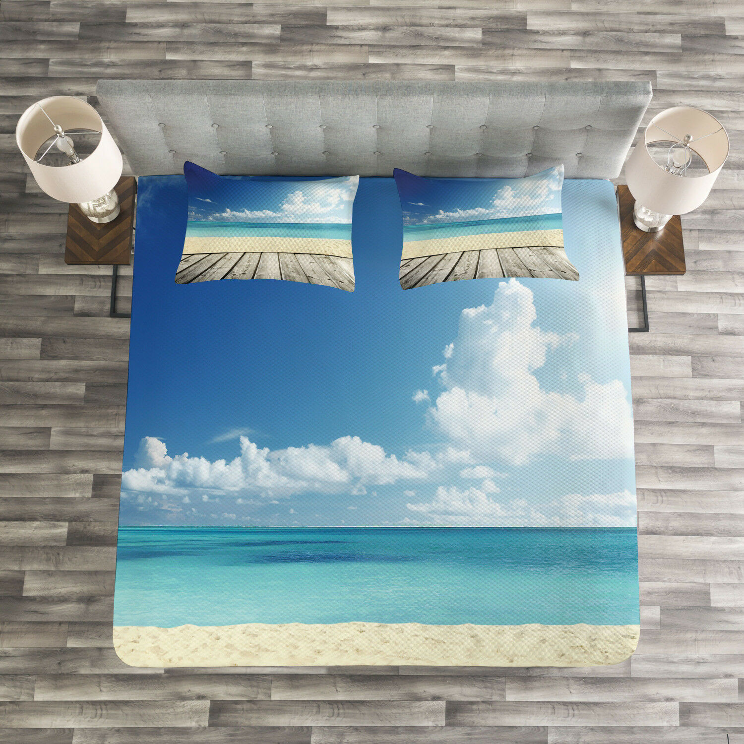Landscape Quilted Bedspread & Pillow Shams Set, Exotic Ocean Nautical Print