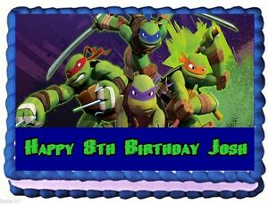 Cool Teenage Mutant Ninja Turtles Edible Cake Topper Birthday Funny Birthday Cards Online Elaedamsfinfo