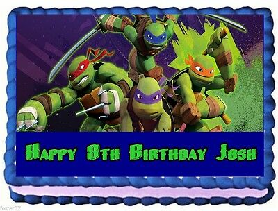 Excellent Teenage Mutant Ninja Turtles Edible Cake Topper Birthday Funny Birthday Cards Online Bapapcheapnameinfo