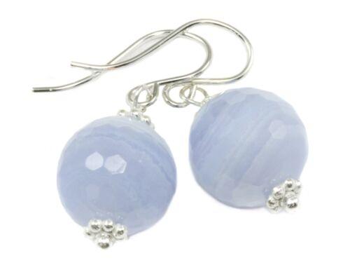 Dentelle Bleu Agate Boucles d/'oreilles rondes à facettes Dangles Naturel Bandes Or 14k Sterling
