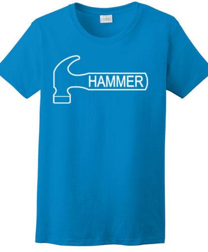 Hammer Women/'s T-Shirt Bowling Shirt 100/% Ultra Cotton Sapphire Blue White