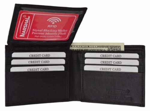 RFID Signal Blocking Mens Leather ID Bifold Black Wallet Flap Top Front Pocket