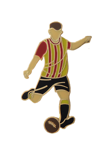 Claret & Amber Stripes Football Player Gold Plated Pin Badge