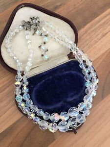 Beautiful-16-034-Vintage-1950s-Sparkly-Aurora-Borealis-Glass-Double-Strand-Necklace