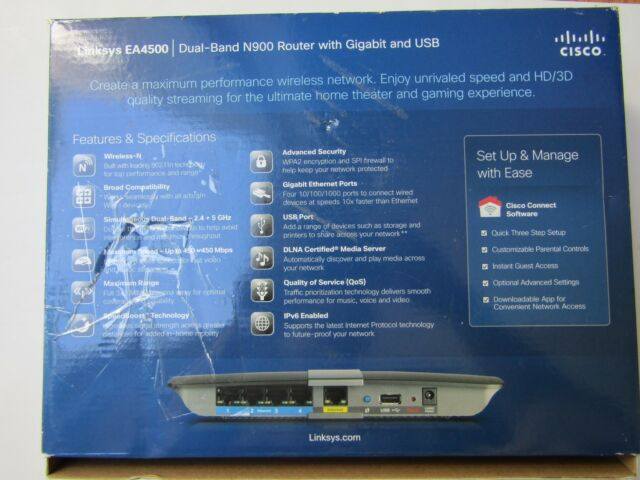 Linksys N900 Smart Wi-fi Router Cisco Ea4500 Dual Band Factory