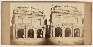 Brescia-Broletto-Lombardia-Italia-Foto-Stereo-PL48L3n-Vintage-Albumina-c1860