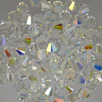 Genuine Swarovski Clear Crystal AB Bicone Crystal Beads