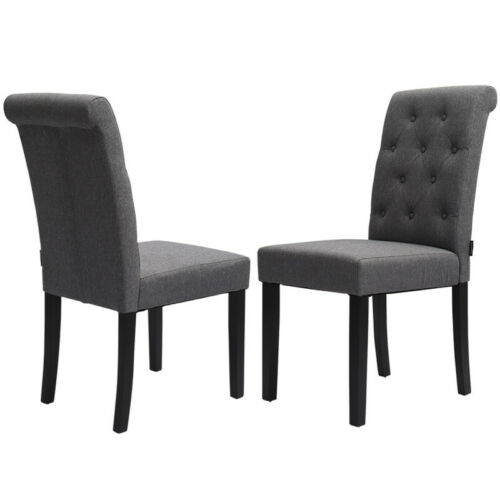 2/4x High Back Button Dining Chairs w/ Oak Legs Linen Fabric Chairs Seat Kitchen Grey,Beige