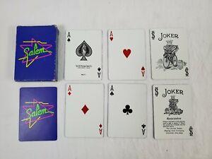 VINTAGE-Salem-Cigarettes-Playing-Cards-Deck-Vintage-90s-Neon-Used-Complete