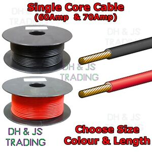 Any Length 60 Amp Black Colour Auto Cable Single Core Car Wire Strand