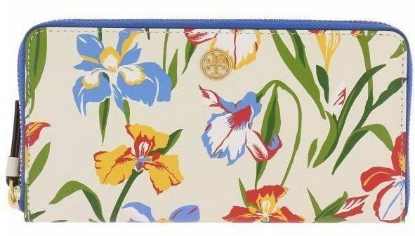 NEW Tory Burch ROBINSON FLORAL ZIP CONTINENTAL WALLET Painted Iris Blue