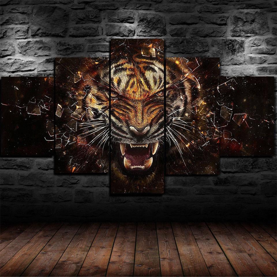 Framed Fierce Tiger Roaring Animal 5 Piece Canvas Wall Art Home Decor