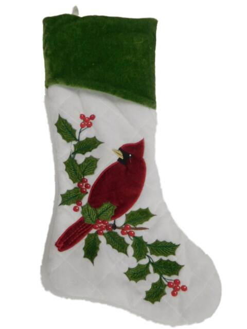 Christmas Stockings Holly Red White Green Quilted Red Plush Cuff