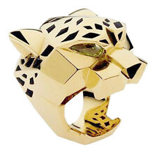 Animal Leopard Panther Cocktail Ring Size 9 Black Enamel Gold GP Women