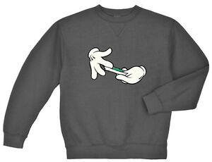 0df8964f089 Cartoon hands rolling joint weed pot 420 sweatshirt Men s crewneck ...