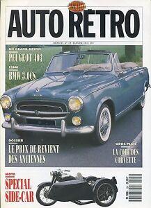 AUTO-RETRO-n-125-JANVIER-1991-BMW-3-0CS-PEUGEOT-403-CORVETTE-SIDE-CARS