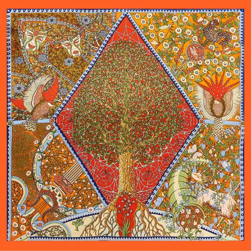 100/% soie foulard bandana vintage Tree imprimé foulard cou Cheveux Serre-tête 53x53cm