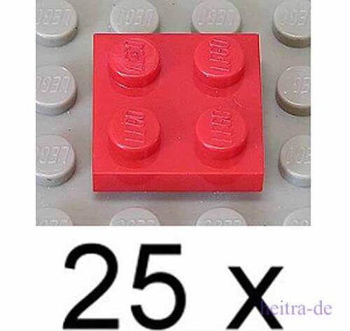 25 x flache Basic Platte 2x2 rot Red Plate 2 x 2 3022 NEUWARE Platten LEGO