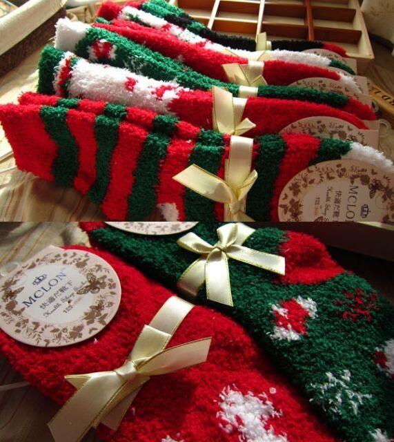 """Christmas Santa"" 1 Pair Womens Socks Girls Soft Cozy Fuzzy Slippers Socks Sox"