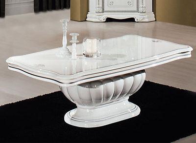 Luxus Couchtisch Prestige Weiß-Silber Dekor Klassische Stilmöbel Italien
