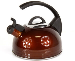 Edelstahl Wasserkocher Teekessel 2,0L energiebewusst Pfeifkessel braun Induktion