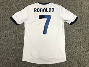 best service eb738 bbe6f Details about 2012 2013 Real Madrid Ronaldo Jersey Shirt Kit White Home  Adidas Small S 7 Blue