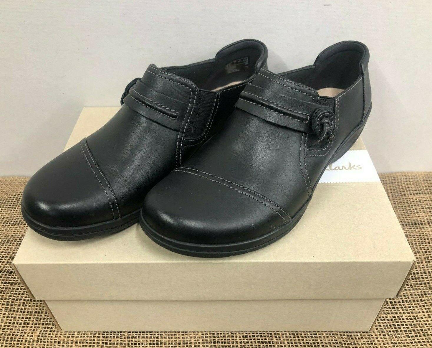 Nuevo en Caja Clarks 30609 Mujer cheyn Madi Smooth Leather Casual Zapato Negro