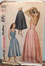 Vintage Original Simplicity #2423 1940s Slip In Two Lengths Petticoat Pattern
