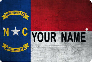 Details about NC North Carolina flag Sign 8 x 12 Patriotic Personalized Emblem Metal Version