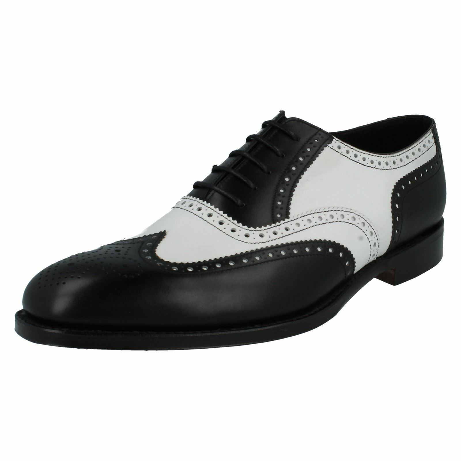 Mens Sloane F fitting black/white leather brogue lace up shoe by Loake 209.00