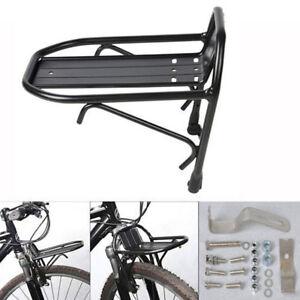 Durable-Metal-Black-Bike-Bicycle-Front-Rack-Luggage-Shelf-Panniers-Bracket-New