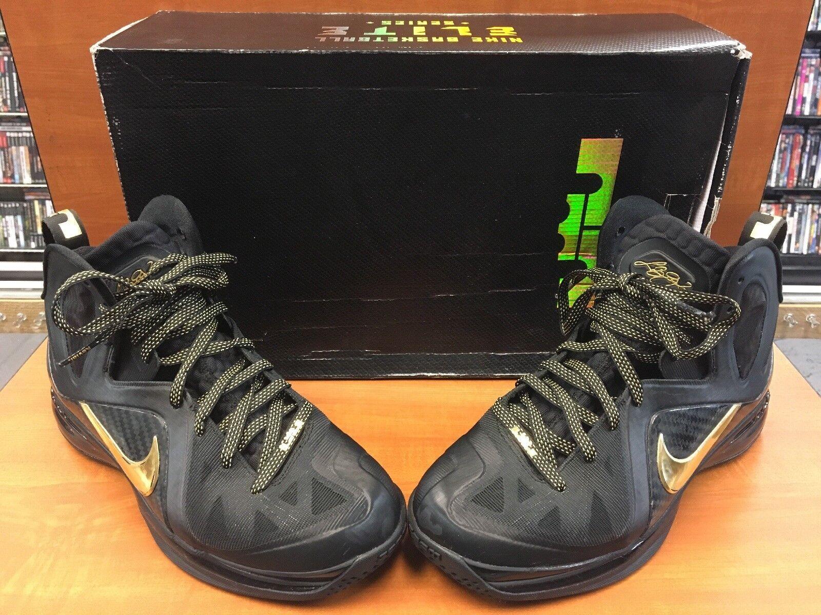 "Nike Lebron 9 IX P.S. Elite ""Away"" Black Metallic gold 526958-002 Men's Size 8"