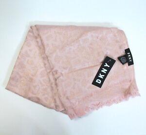DKNY-Allover-Logo-Shine-Soft-Lightweight-Scarf-Blush