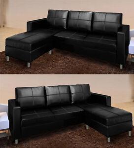 Divano angolare in ecopelle nero soggiorno letto con pouf e chaise reversibile ebay - Divano letto angolare ecopelle ...