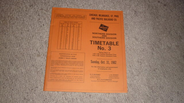 OLD RAILWAY TIMETABLE BOOKLET, MILWAUKEE ROAD CMSP&P RAILROAD NORTH & SOUTH 1982
