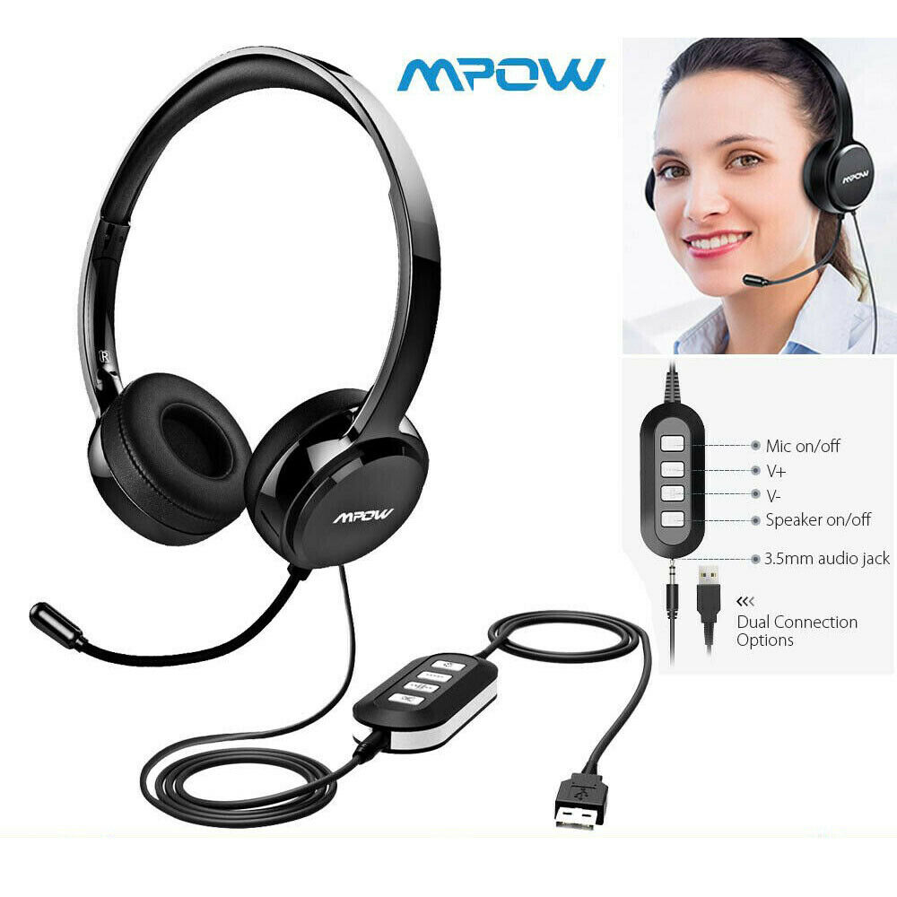 Mpow USB Headset Stereo HeadphoneMic Noise Cancelling For PC Laptop Call Center