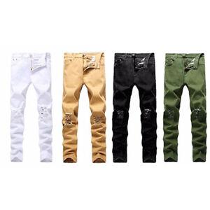 Men-039-s-elastico-Strappato-Skinny-Biker-Jeans-sfrangiati-distrutto-Slim-Fit-Denim-Pantaloni